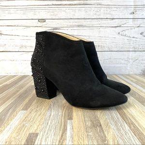Zara Black Suede Ankle Booties Embellished